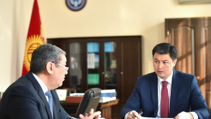 Премьер-министр Улукбек Марипов Бишкек шаарынын мэринин милдетин аткаруучу Бактыбек Кудайбергеновду кабыл алды