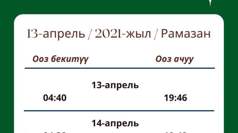 Рамазан-2021. Бүгүн Бишкек боюнча 19:46да ооз ачылат