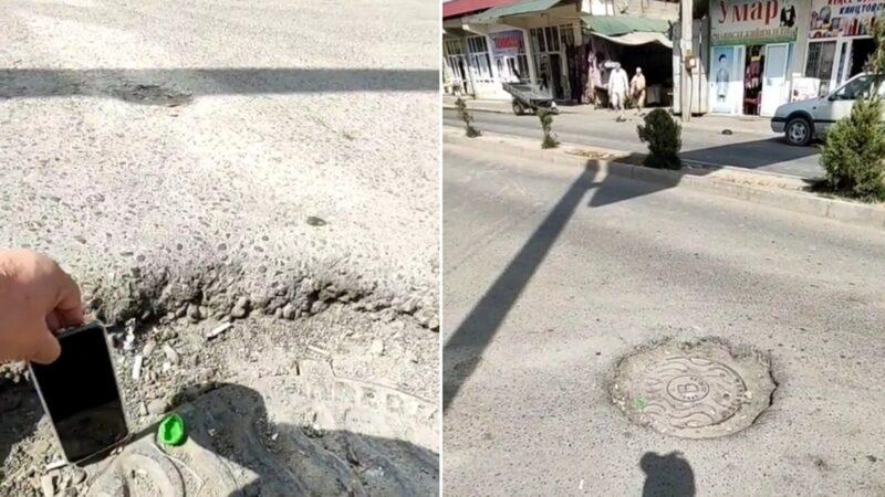 Тургун: Жалал-Абадда жаңы жолдун ортосунда телефон бойлуу аң пайда болду