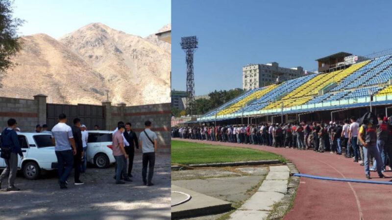 Кой-Ташка Атамбаевдин тарапташтары, Стадионго ыктыярчылар чогула баштады